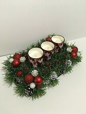 Advent Wreath With Three Candles Glass Holder Christmas Table Decor Natural