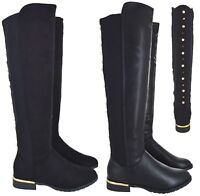 LADIES WOMENS OVER THE KNEE STUD HIGH STRETCHY BOOT GOLD HEEL TRIM BOOTS SZ 3-8