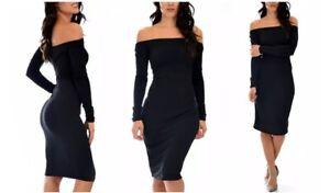 Lyss Loo Bold Move Off The Shoulder Long Sleeve Midi Dress D2045 Black - L