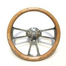 "Hot Rod Street Rod Rat Rod Ford 14"" Billet  & Real Alderwood Steering Wheel"