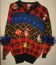 Everything but the Kitchen Sink Lights Up Ugly Xmas Sweater Mens L Womens XL
