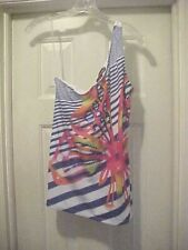 Almost Famous Women's Multi-Color Striped One Shoulder Top Size M 100% polyester