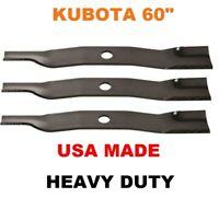 "3 Heavy Duty Blades Fits Kubota K5351-34342 K535134342 54/"" Cut Deck"
