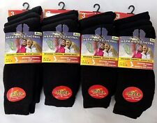 12 PAIRS WARM WINTER THERMAL LADIES WOMENS SOCKS BLACK UK 4-7 EU 35-39 L10733