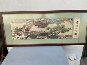 JAPANESE/CHINESE ART SILK EMBROIDERY TAPESTRY COLORFUL VILLAGE SCENE.
