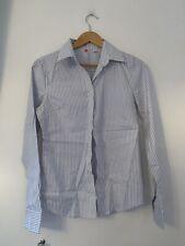 Mens Shirt M Blue Striped Long Sleeve Formal <JJ12124