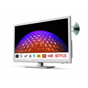 """Sharp 24"""" Inch Smart LED/DVD White TV Freeview Play Netflix Wi-Fi LC24DHG6001KFW"""
