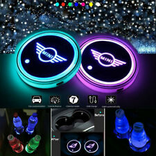 2PCS LED Car Cup Holder Light Pad 7 Colors Changing USB Charging Mat for Mini