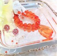 NEW Avon Pink & Orange Rhinestone Earrings + Anklet; Orange Bracelet & Earrings!