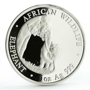 Zambia 5000 kwacha African Wildlife series Elephant silver coin 2001