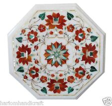 """18"""" White Marble Coffee Table Top Coral Floral Inlay Marquetry Patio Decor H1749"""