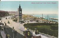 Postcard - Marine Sands and Clock Tower Margate Kent posted 1914