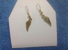 STUNNING GOLD  GUARDIAN ANGEL HARLEY DAVIDSON wings motorcycle dangle  earrings