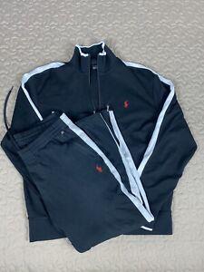 Polo Ralph Lauren Cotton Tracksuit Mens Sz L Jacket & Jogger Pants Black & White
