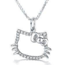 Halskette 925er Sterling Silber Hello Kitty Swarovski Elements Anhänger Zirkonia