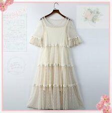 Mori Girl Sweet Lolita Lace Short Sleeve Dress Two Piece Big Swing Skirt Apricot