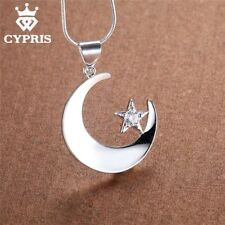 Sterling Silver Moon and Star Necklace Medallian Religion Stone Pendant 18 inch