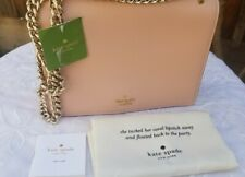 """Kate Spade Women Gold Chain Flap Magnet Closure Shoulder Bag Pink Leather """"NWT"""""""