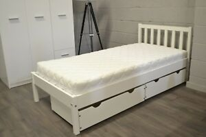 SINGLE 3FT WHITE BED, STRONG AND SOLID, WOODEN, ADULT AND KIDS BERNO