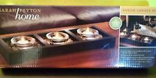 Sarah Peyon Home Wooden Base with 3 Glass Votive Cups Set New 2010