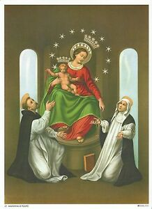 """Catholic Print Picture OUR LADY POMPEII / ROSARY 7 1/2x10"""" ready to frame"""