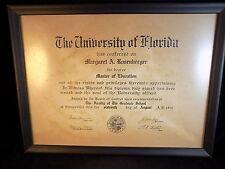 DIPLOMA Master Education University of Florida 1952 diploma Margaret Rosenberger