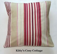 """16 """"LAURA ASHLEY"""" Irving a righe """"CRANBERRY Copricuscino"""