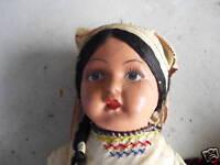 BIG Vintage 1930s Cloth Composition Ethnic Girl Doll