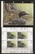 CANADA QUEBEC # QU-3 WILDLIFE CONSERVATION STAMP SHEET 1990, LOONS
