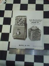 Rare Original Picture ad Northwestern 49 Bulk Vender Machine  NOS 1950's NICE