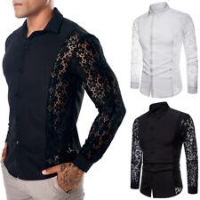 Men's Crochet Floral Lace Long Sleeve Shirt Blouse Top Party Wedding Slim Casual