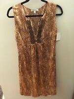 Beth Bowley Brown 100% Silk Beaded Dress, Size 12