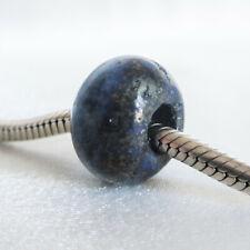 Genuine LAPIS LAZULI STONE Abacus Charm BEAD Fits 3mm European Bracelet