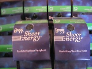 6 Pair Leggs Sheer Energy Sheer Panty & Sheer Toe Pantyhose Navy Sz Q 64442