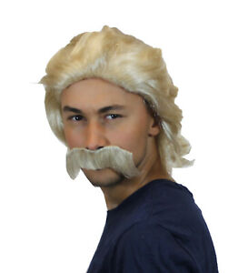Adult 70's Blonde Wig With Mustache Halloween Cosplay Party Costume Hair HM-366A