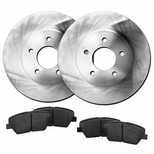 Fits 2011-2013 Hyundai Elantra, Veloster Front Blank Brake Rotors+Ceramic Pads