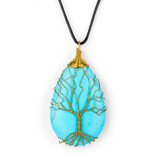 Handmade Wire Wrapped Copper Tree of Life Turquoise Stone Pendant Charm Necklace