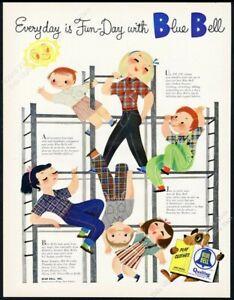 1953 Mary Blair girls boys GREAT art Blue Bell jeans fashion vintage print ad
