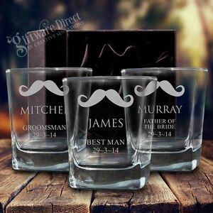 3 x Engraved 280ml Scotch Glasses Gift Box Whiskey Personalised Wedding Tumbler