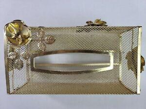 Vintage Golden Metal Mesh Rose Tissue Box Cover Holder Ornate Hollywood Regency