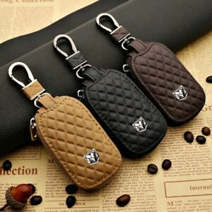 Leather Car Key Protection Bag Car Key Holder Keychain Ring Case Fit for Dodge