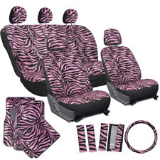 21pc Pink Zebra Print SUV Seat Covers Set Floor Mats Wheel Belt Pad Head Rests