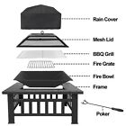"""Outdoor 32"""" Metal Firepit Backyard Patio Garden Square Stove Fire Pit With Cover photo"""