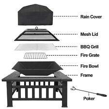 """Outdoor 32"""" Metal Firepit Backyard Patio Garden Square Stove Fire Pit With Cover"""
