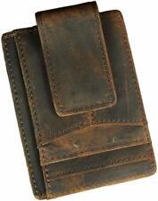 Mens Genuine Leather Minimalist Slim Wallet Front Pocket Card Case Money Clip