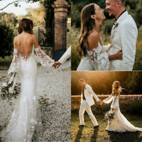 Bohemian Country Wedding Dresses Spaghetti Straps Long Sleeve Lace Bridal Gown