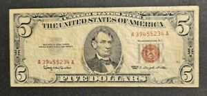 1963 $5 DOLLAR United States Note RED SEAL -Nice Circ Collector Item!-d4212sxx2