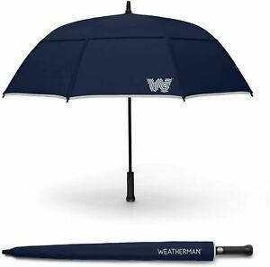 The Weatherman Umbrella - Stick Umbrella - Windproof 55 mph - Navy Blue