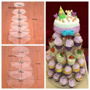 Display Tower 3 4 5 6 7 Tier Clear Acrylic Cupcake Stand Wedding Birthday Stands