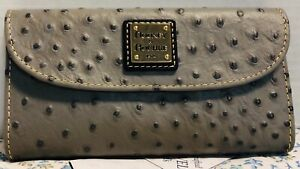 NWT*Dooney & Bourke*GRAY*Leather*OSTRICH*Continental Clutch Wallet*19273E S209